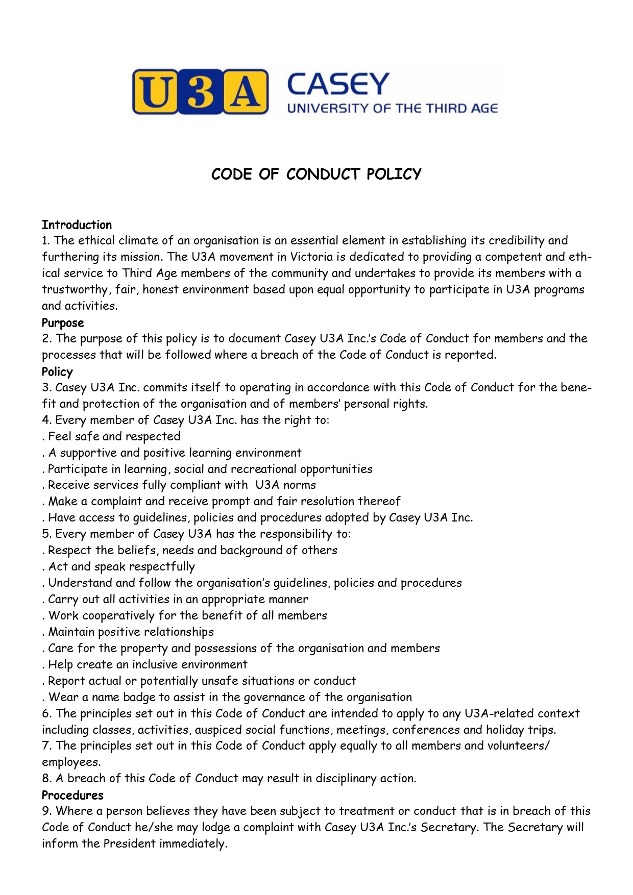 Code of Conduct Policy pg 1