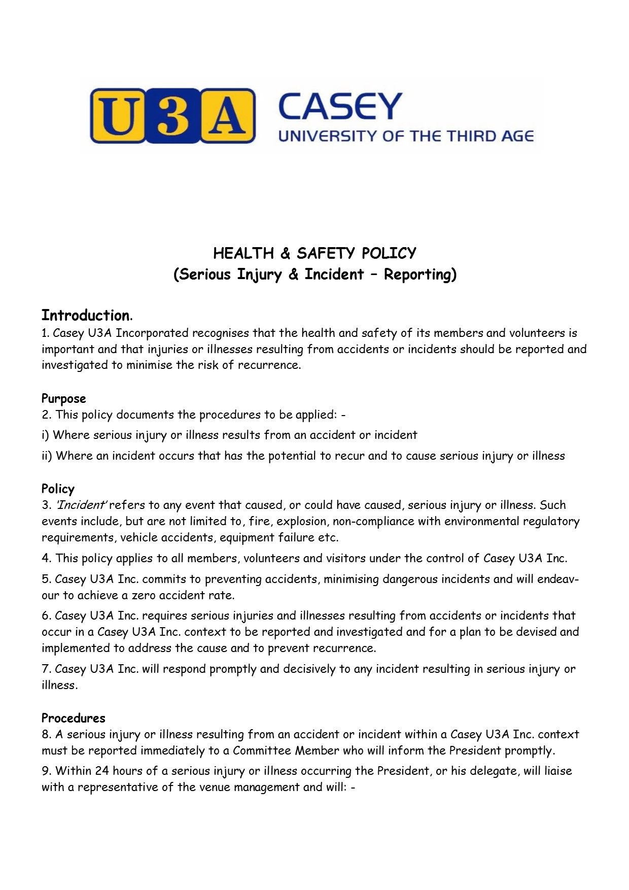 Health and Safety Policy pg1