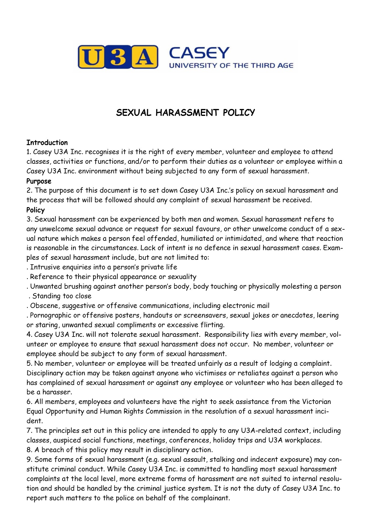 Sexual Harassment Policy pg1