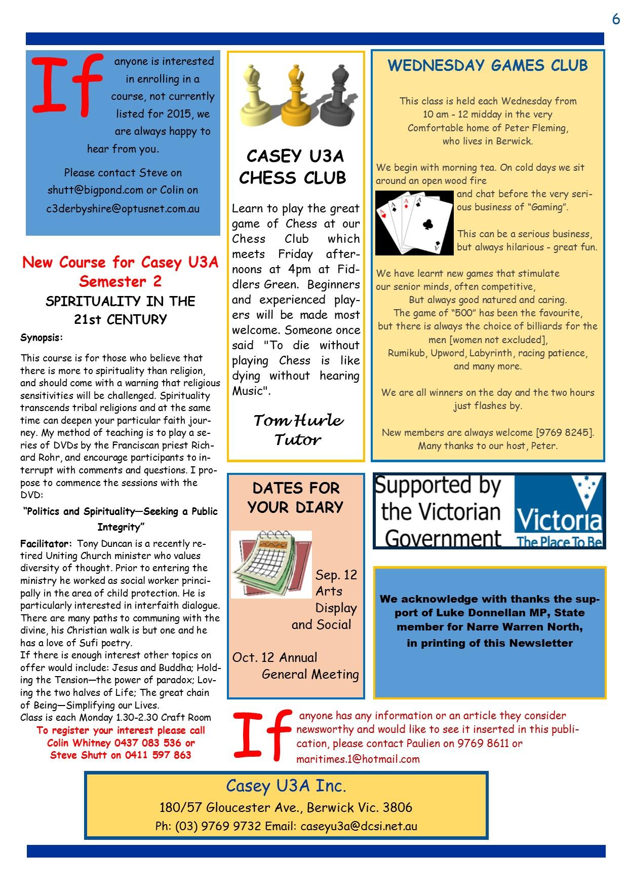 U3A Newsletter June 2015 pg6
